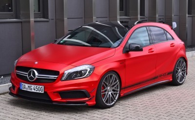 Mercedes-Benz A45 AMG in Satin Red Chrome Wrap by FOLIEN EXPERTE 2