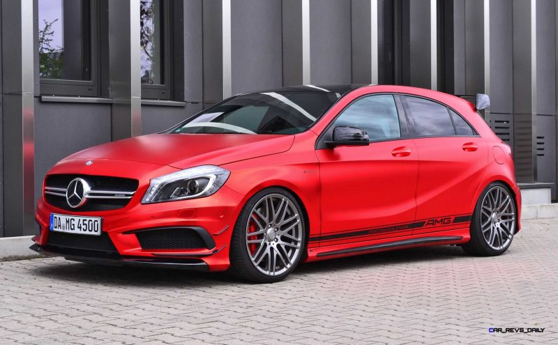 Mercedes-Benz A45 AMG in Satin Red Chrome Wrap by FOLIEN EXPERTE 3