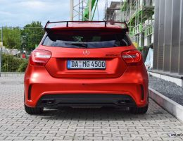 Mercedes-Benz A45 AMG in Satin Red Chrome Wrap by FOLIEN EXPERTE