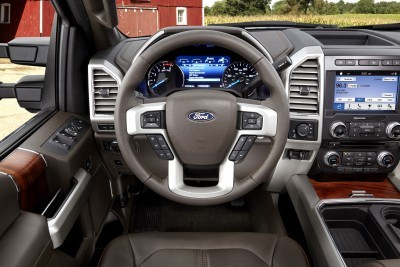 All-new 2017 Ford F-Series Super Duty offers a new interior design, including a dual compartment glove box and overhead console-mounted auxiliary switches to operate aftermarket equipment. All vital controls are close at hand – including the integrated trailer brake controller switch.