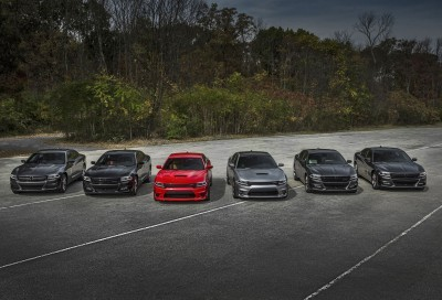 2016 Dodge Charger model lineup. From left to right: 2016 Dodge Charger SE AWD, Charger SXT AWD, Charger SRT Hellcat, Charger SRT 392, Charger R/T and Charger R/T Road & Track.