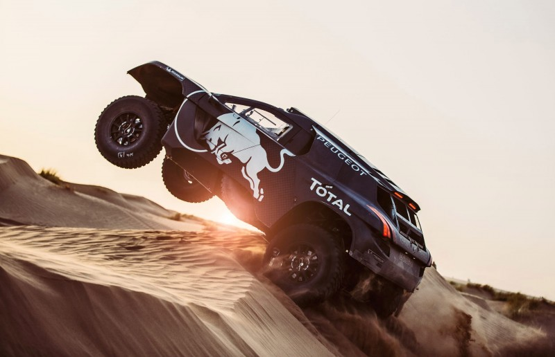 Carlos Sainz performs during the Peugeot test in Erfoud, Morocco