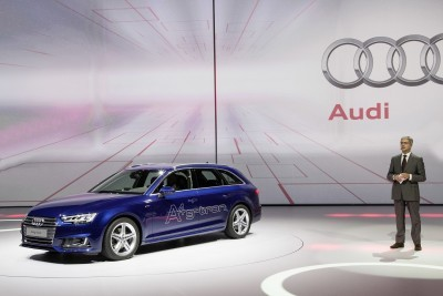 Prof. Rupert Stadler, Chairman of the Board of Management AUDI AG, next to the Audi A4 Avant g-tron at the Volkswagen Group Night (IAA) in Frankfurt.