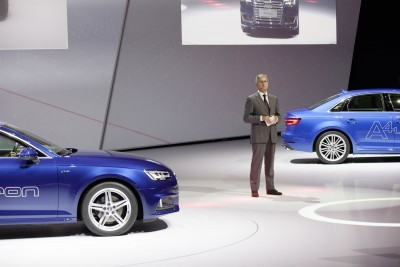 Prof. Rupert Stadler (Chairman of the Board of Management) AUDI AG, between the Audi A4 Avant g-tron and the Audi A4 ultra at the Volkswagen Group Night (IAA) in Frankfurt.