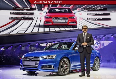 Luca de Meo, Member of the Board of Management of AUDI AG Sales and Marketing, in front of the Audi S4 at the International Auto Show 2015 in Frankfurt.