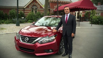 NEW YORK – Nissan chairman and CEO Carlos Ghosn today previewed the new 2016 Nissan Altima during a series of business media appearances in New York City.