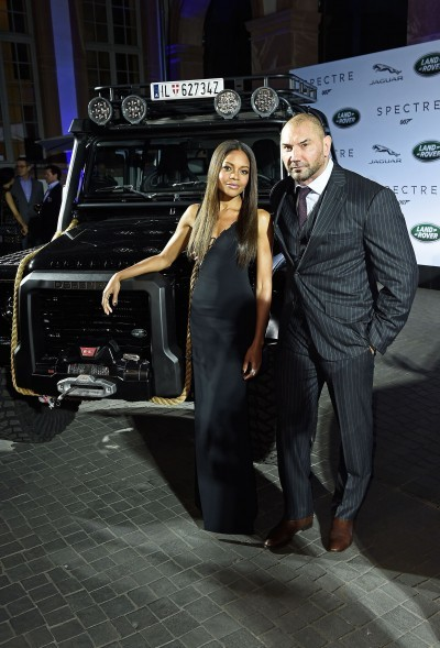 FRANKFURT AM MAIN, GERMANY - SEPTEMBER 15: VIPÕs including Spectre cast members Naomie Harris(L) and David Bautista attend star-studded event as Jaguar and Land Rover stunt vehicles make international debut on September 15, 2015 in Frankfurt am Main, Germany. (Photo by Ian Gavan/Getty Images for Jaguar Land Rover) *** Local Caption *** Naomie Harris;David Bautista