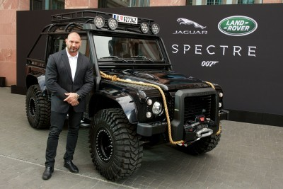 Spectre cast members Naomie Harris and David Bautista are reunited with Jaguar Land Rover stunt vehicles from the film ahead of their international debut in Frankfurt, Germany