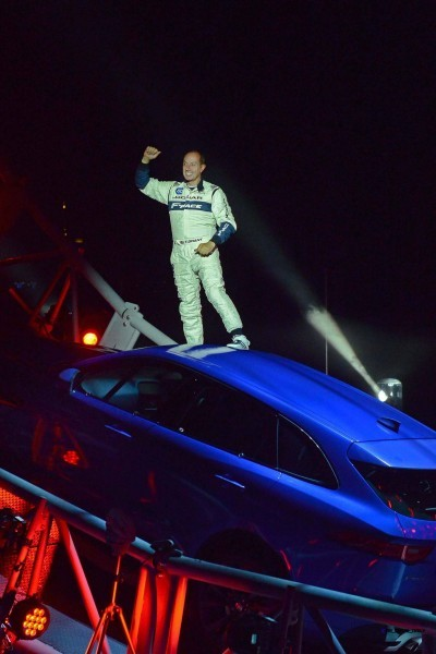 ###   - HANDOUT - FREE TO USE -   ###  13/09/15.  JAGUAR F-PACE LOOP REVEAL  JAGUAR CELEBRATES 80TH YEAR BY REVEALING THE NEW F-PACE TO GLOBAL AUDIENCE, BREAKING THE GUINNESS WORLD RECORD OF LARGEST LOOP THE LOOP DRIVE IN A CAR, DRIVEN BY TERRY GRANT, AHEAD OF MOTOR SHOW DEBUT IN FRANKFURT.  CREDIT: DANIEL LYNCH. 07941 594 556. www.lynchpix.co.uk  ###   - HANDOUT - FREE TO USE -   ###
