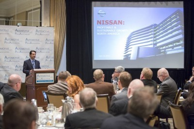 DETROIT (Sept. 22, 2015) - Nissan Motor Co., Ltd. executive vice president and North America chairman José Muñoz today pulled the wraps off the extensively redesigned 2016 Nissan Altima at Automotive Press Association meeting in Detroit.