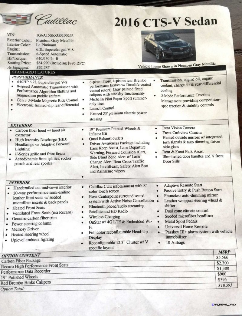 2016 CTS-V Price sheet