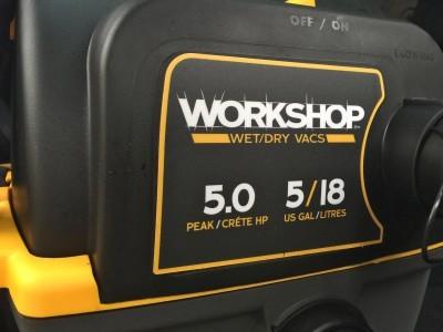 Emerson WORKSHOP 5HP Portable Wall Mount WetDry Vac 19