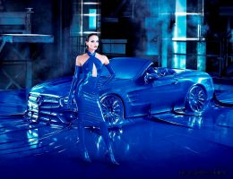 WTF?!  Mercedes Bags Up Supermodel and 2017 SL in Giant Blue Condom, Feels Nothing