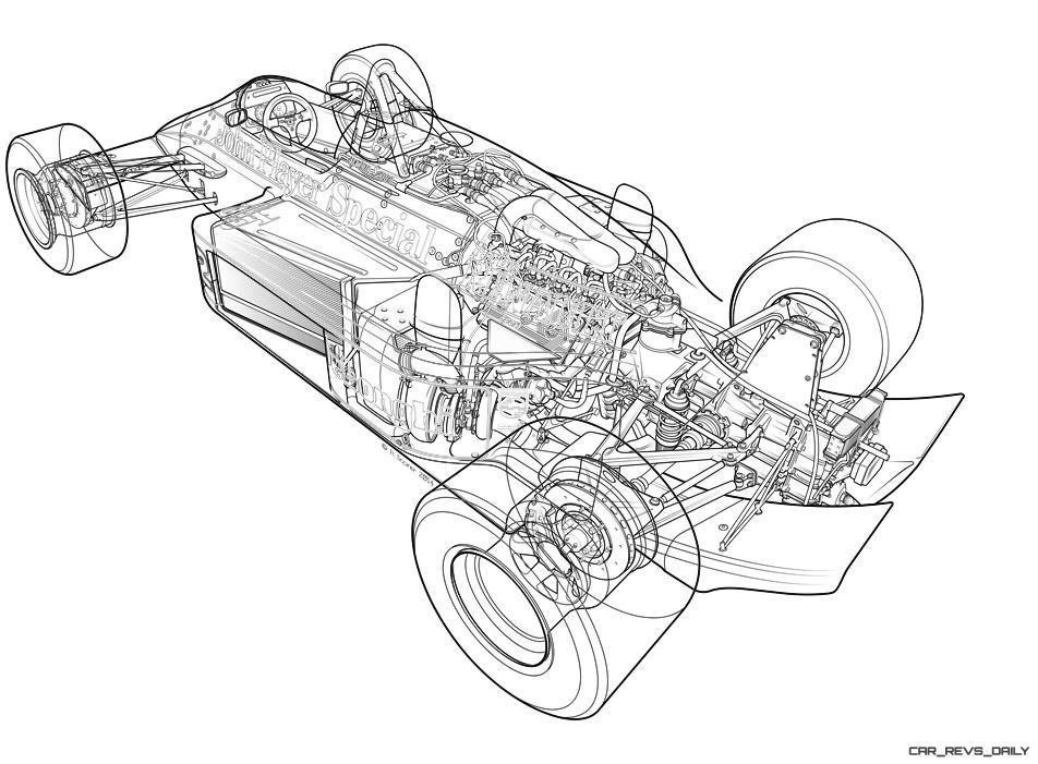 1986 Lotus F1 Car Technical Illustrations 12