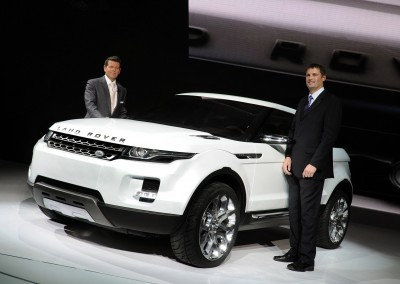 DETROIT, MI., January 13, 2008--Land Rover Managing Director, Phil Popham (right) and Gerry McGovern, Design Director unveils the hybrid LRX concept vehicle at the 2008 North American International Auto Show.