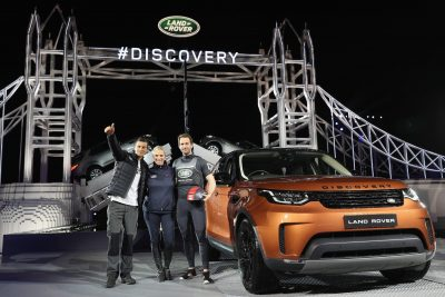 bear-grylls-zara-phillips-and-sir-ben-ainslie-pose-with-the-new-land-rover-discovery-at-global-unveiling-at-packington-hall-solihull-uk