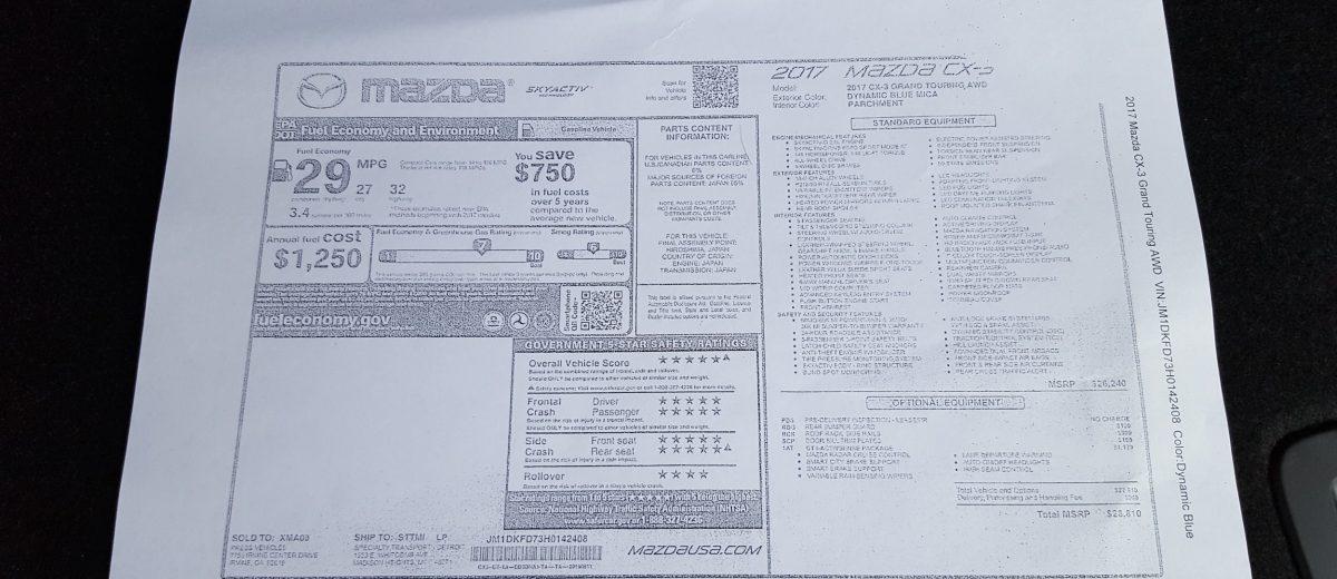 Mazda CX-3 price sticker