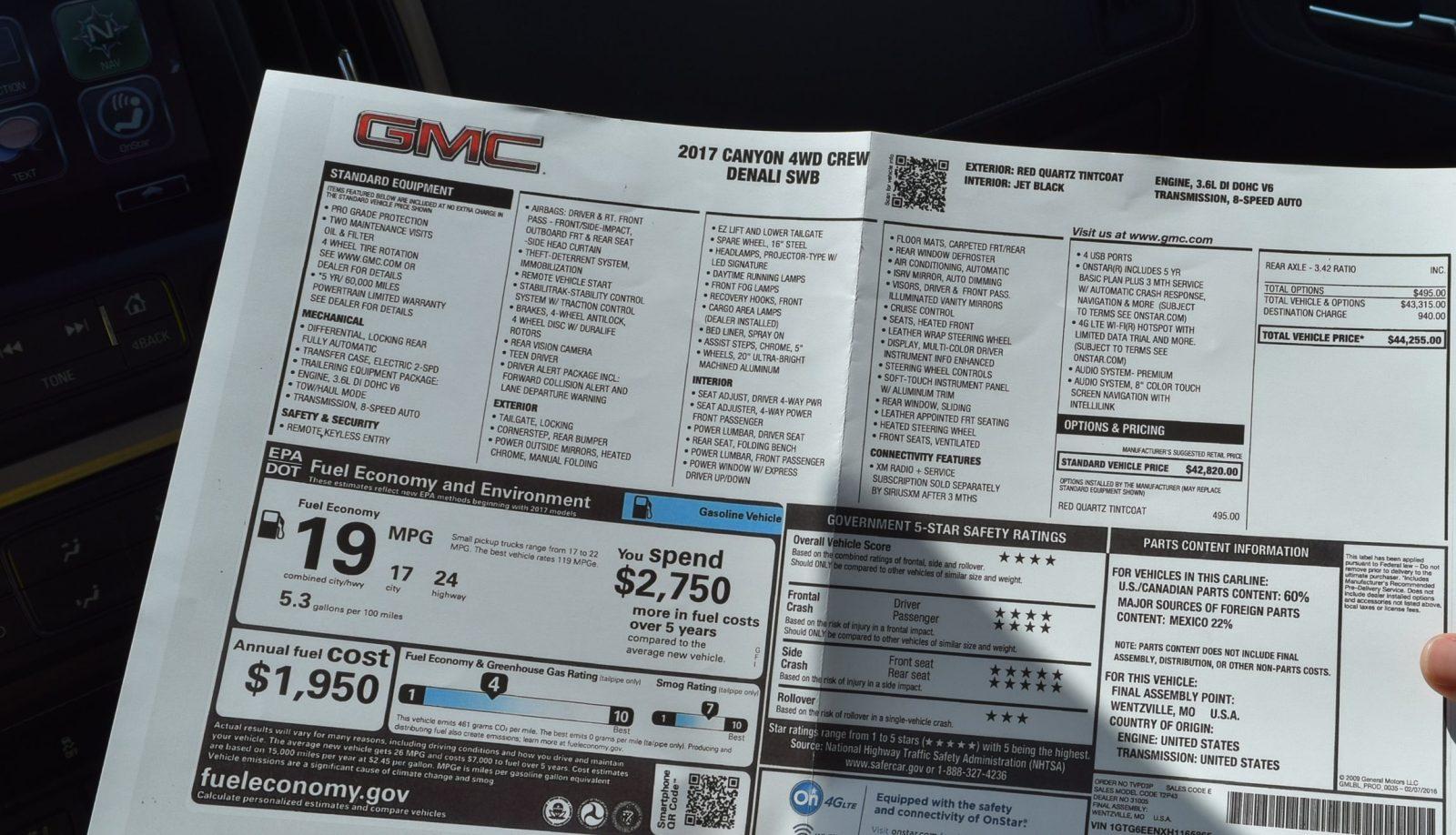 2017 GMC Canyon Denali 4x4 SWB Crew 2