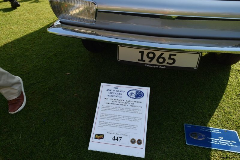 1965 Volkswagen Karmann-Ghia Type 1 Concept - Amelia Concours 2019 7