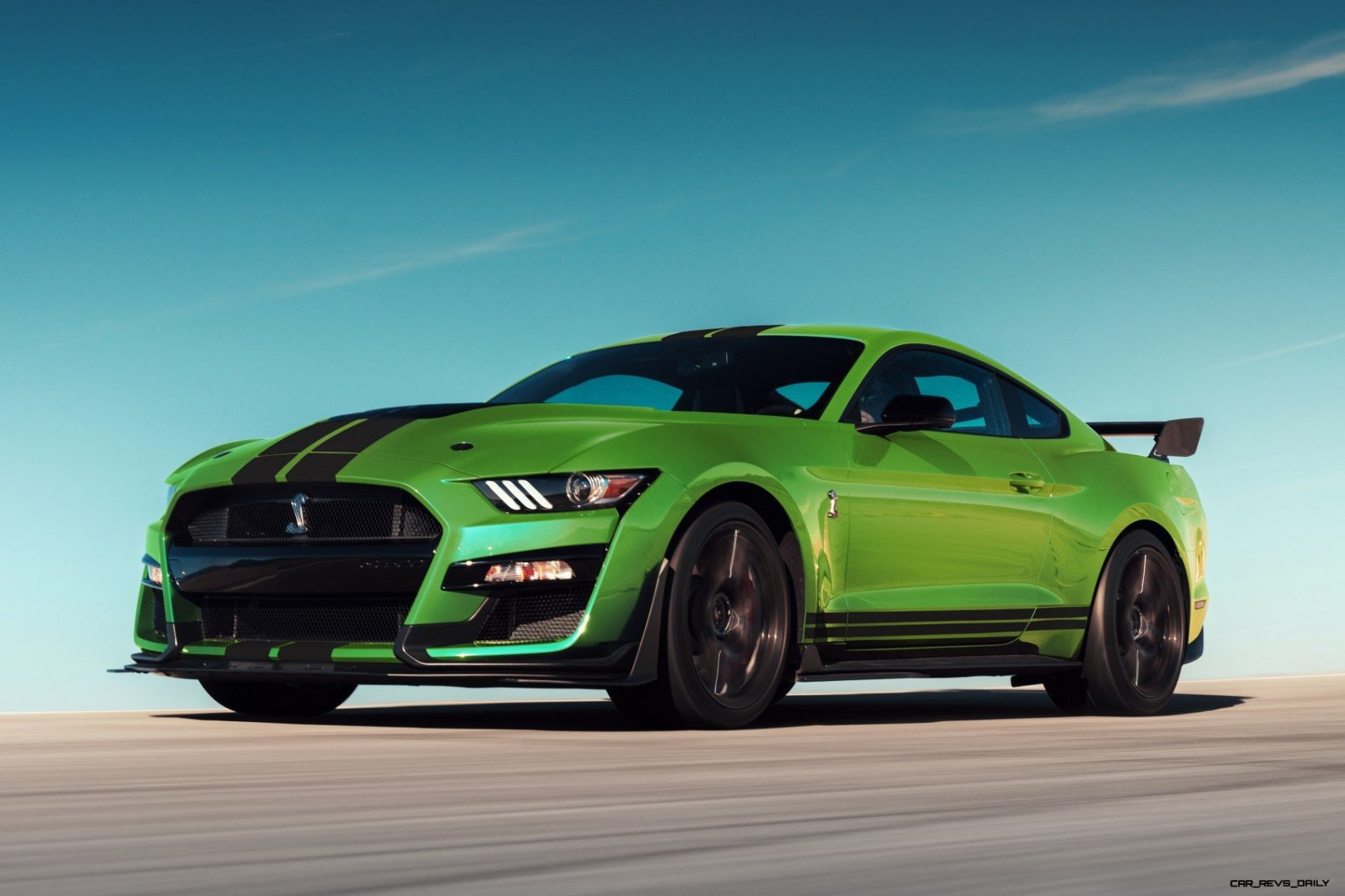 shelby gt embraces  st patricks day spirit    grabber lime hue muscle