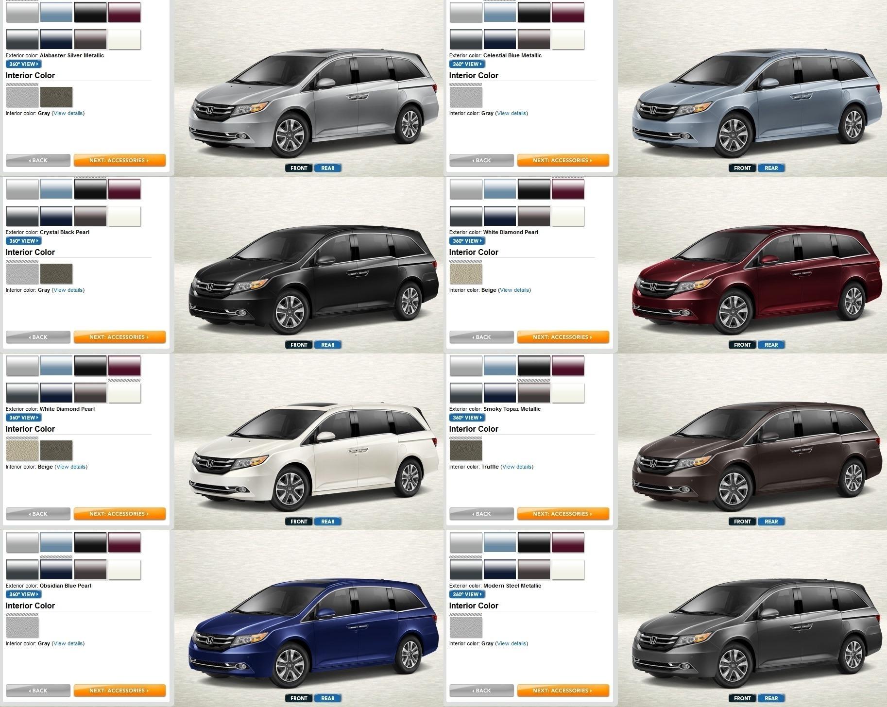 Honda Odyssey Touring Colors