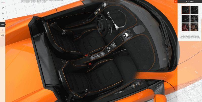 2014 McLaren 650S Spider builder interior GIF