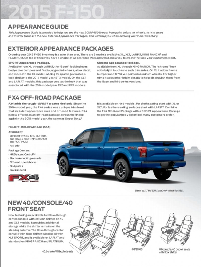 Update1 - 2015 FORD F-150 Style Guide To Trims and Option Packages