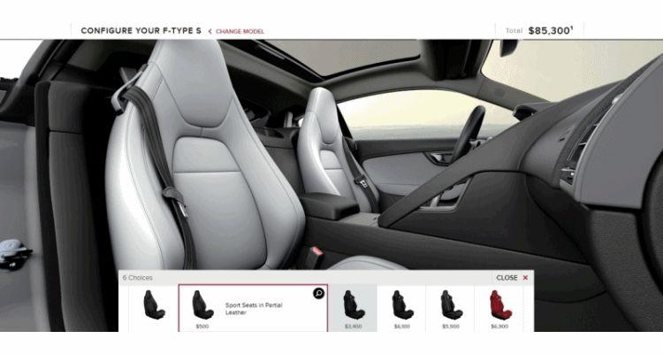 2015 Jaguar F-TYPE S Coupe Builder GIF seats