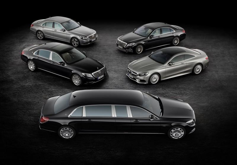 Mercedes-Maybach Pullman, Mercedes-Maybach S-Klasse, Mercedes-Benz S-Klasse, S 65 AMG und S-Klasse Coupé