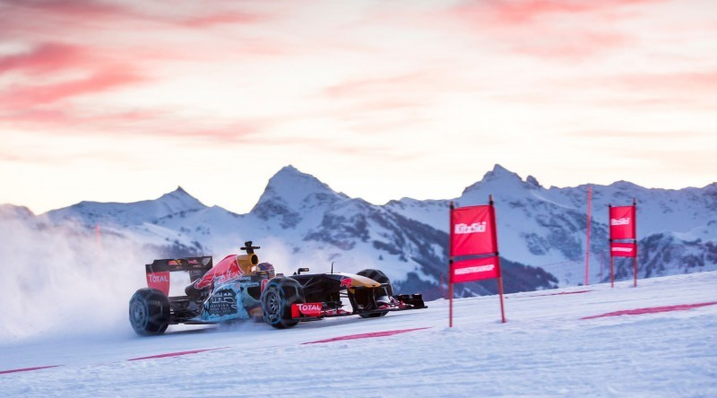 2016 Red Bull F1 Car Austria Snowchains Skiing 16