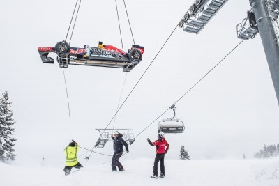 2016 Red Bull F1 Car Austria Snowchains Skiing 2