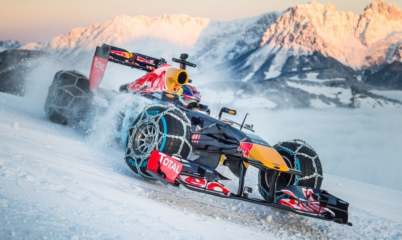 2016 Red Bull F1 Car Austria Snowchains Skiing 24