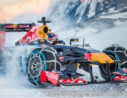 Got Grip?  Red Bull F1 Car On Snowchains Rips Up Tyrol, Austria Ski Slopes
