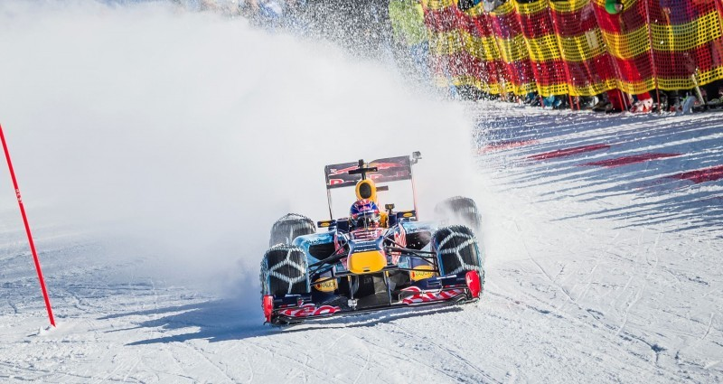 2016 Red Bull F1 Car Austria Snowchains Skiing 28