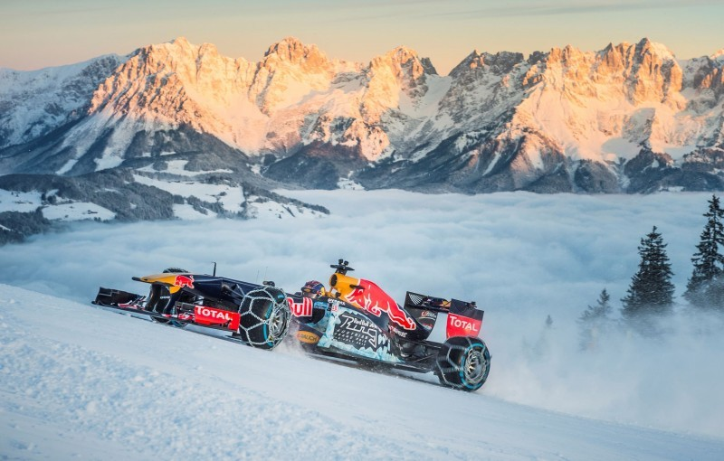 2016 Red Bull F1 Car Austria Snowchains Skiing 29
