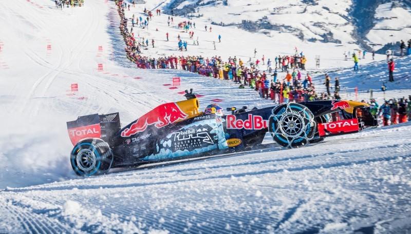 2016 Red Bull F1 Car Austria Snowchains Skiing 30