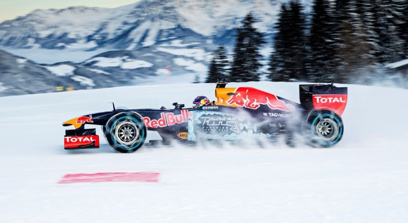 2016 Red Bull F1 Car Austria Snowchains Skiing 34