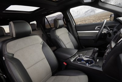 Interior updates for the 2017 Ford Explorer XLT Sport Appearance Package include premium Salerno leather and Miko® suede on the front seats, and Miko suede trim on the door inserts. Preproduction model shown; available summer 2016.