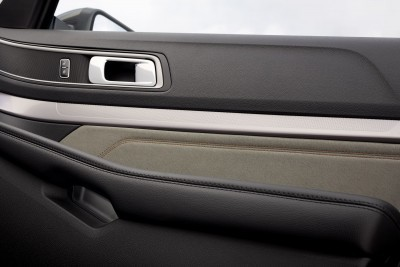 Dark Earth Gray Miko suede trim on the door inserts are an elegant touch in the 2017 Ford Explorer XLT Sport Appearance Package cabin. Preproduction model shown; available summer 2016.
