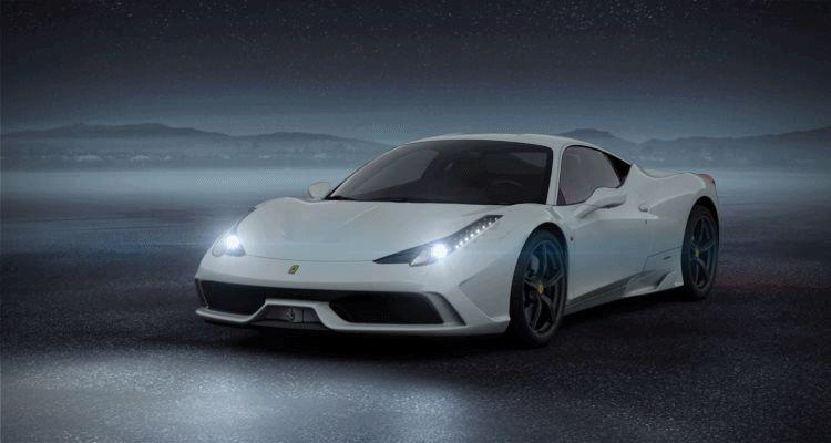 458 Italia white black gold GIF