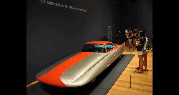 Atlanta Dream Cars - 1955 Chrysler Streamline X Ghilda by GHIA is Turbine Car Ideal GIF header