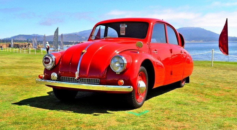 Car-Revs-Daily.com 1938 Tatra T97 Aerodynamic Sedan at Pebble Beach 2014 Concours 52