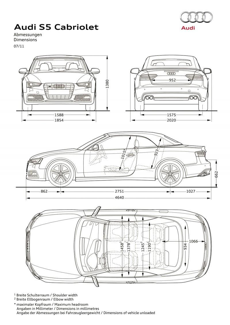 Audi S5/Abmessungen
