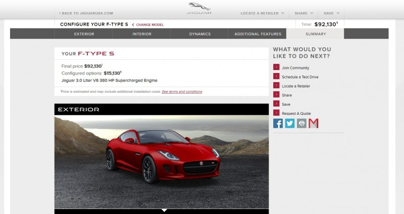 Car-Revs-Daily.com 2015 JAGUAR F-Type S Coupe - Options, Exteriors and Interior Colors Detailed105
