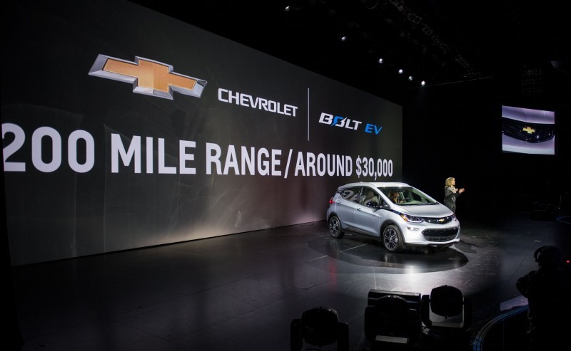 General Motors Chairman and CEO Mary Barra introduces the 2017 Chevrolet Bolt EV at its world debut during the Consumer Electronics Show Wednesday, January 6, 2016 in Las Vegas, Nevada. The Bolt EV offers more than 200 miles of range on a full charge at a price below $30,000 after Federal tax credits. The Bolt EV features advanced connectivity technologies and seamless integration. The Bolt EV will begin production by the end of 2016. (Photo by Steve Fecht for Chevrolet)