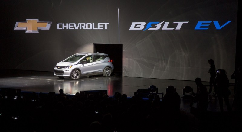 The 2017 Chevrolet Bolt EV makes its world debut at the Consumer Electronics Show Wednesday, January 6, 2016 in Las Vegas, Nevada. The Bolt EV offers more than 200 miles of range on a full charge at a price below $30,000 after Federal tax credits. The Bolt EV also offers connectivity and infotainment technologies seamlessly integrating smartphones and other electronic devices. The Bolt EV will go into production by the end of 2016. (Photo by Isaac Brekken for Chevrolet)