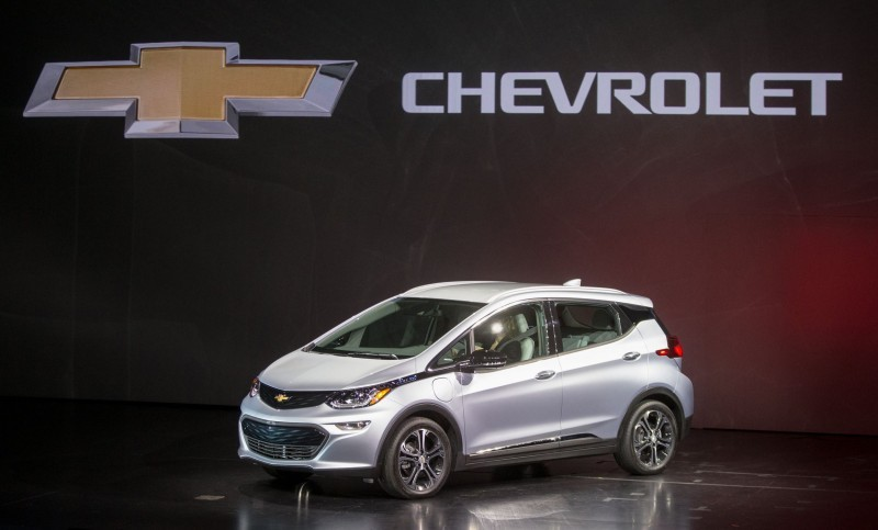 The 2017 Chevrolet Bolt EV makes its world debut at the Consumer Electronics Show Wednesday, January 6, 2016 in Las Vegas, Nevada. The Bolt EV offers more than 200 miles of range on a full charge at a price below $30,000 after Federal tax credits. The Bolt EV also offers connectivity and infotainment technologies seamlessly integrating smartphones and other electronic devices. The Bolt EV will go into production by the end of 2016. (Photo by Dan MacMedan for Chevrolet)
