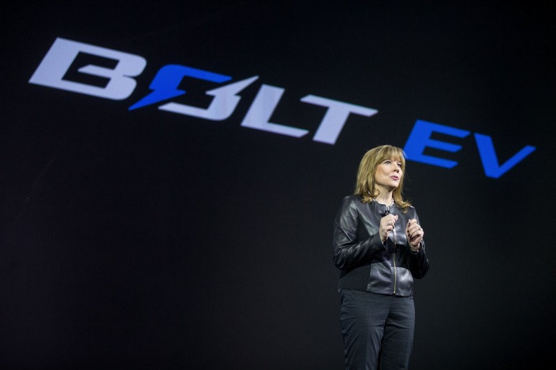 General Motors Chairman and CEO Mary Barra introduces the 2017 Chevrolet Bolt EV at its world debut during the Consumer Electronics Show Wednesday, January 6, 2016 in Las Vegas, Nevada. The Bolt EV offers more than 200 miles of range on a full charge at a price below $30,000 after Federal tax credits. The Bolt EV features advanced connectivity technologies and seamless integration. The Bolt EV will begin production by the end of 2016. (Photo by Isaac Brekken for Chevrolet)