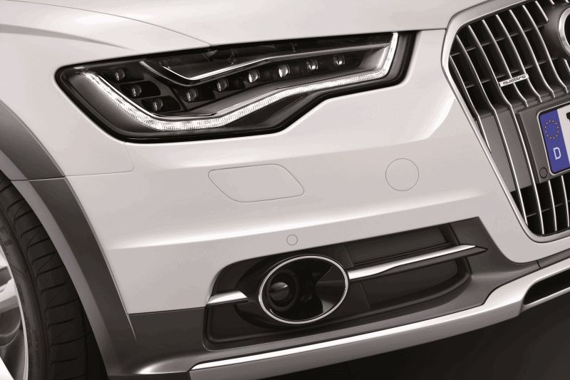 Euro Wagon Envy - 2014 Audi A6 Allroad  Headlights closeup GIF