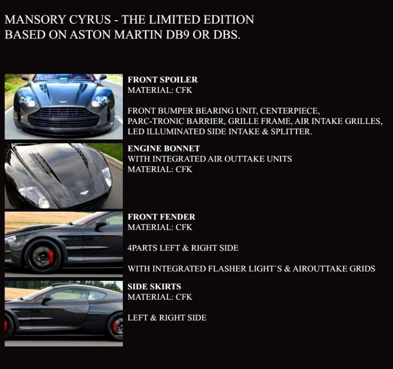 MANSORY Cyrus is Fascinating Carbon Widebody for Aston Martin DB9 and DBS 1